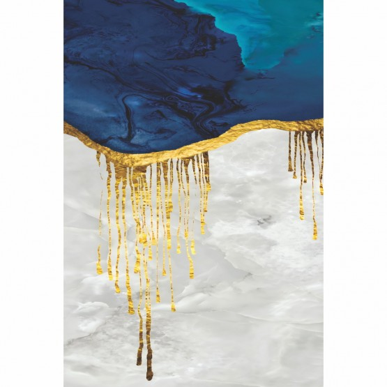 Quadro Abstrato Azul e Dourado Arte Luxo decorativo
