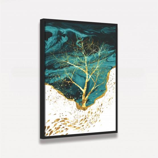 Quadro Árvore Dourada Arte Abstrata Elegante Verde Branco