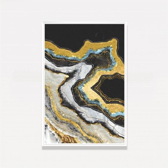 Quadro decorativo Arte Abstrata Elegante Preto e Dourado