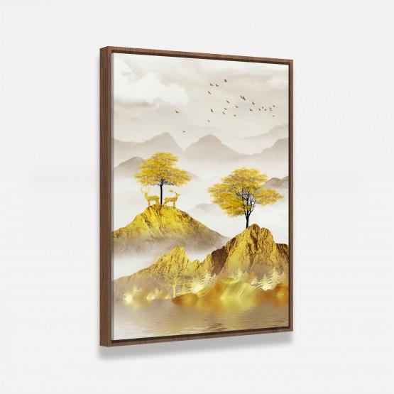 Quadro Árvores Paisagem Dourada Luxo Abstrato em Arte