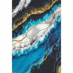 Quadro Abstrato Azul Traços Dourados decorativo