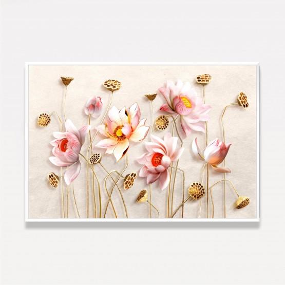 Quadro Flores em Arte Rosa Design Efeito 3D