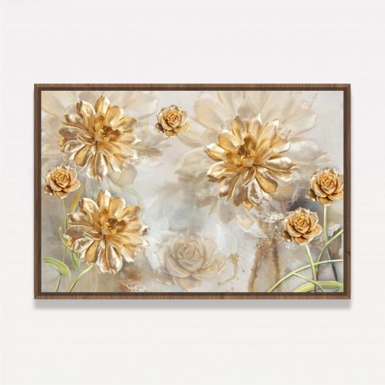 Quadro Flores Douradas Peonias e Rosas Artístico Efeito 3D