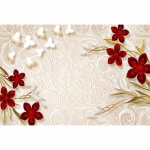 Quadro Flores Vermelhas em Floral Abstrato