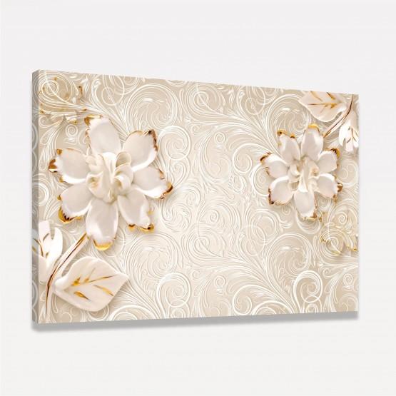 Quadro Flores Brancas e Douradas em Arte Floral Abstrata Moderna