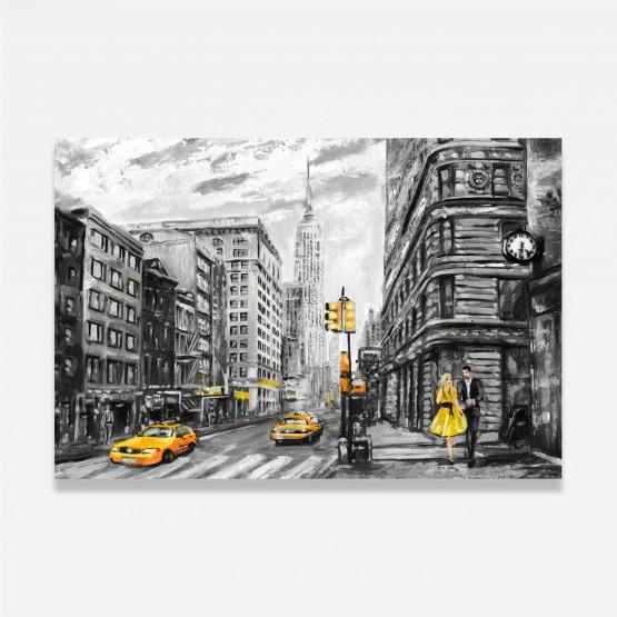Quadro Abstrato Rua de Nova York Artístico Detalhes Amarelos