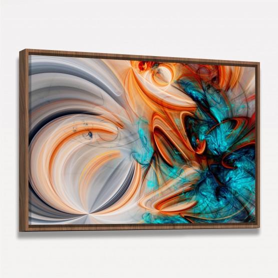 Quadro Abstrato Fractal Moderno Laranja decorativo