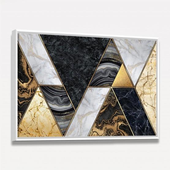 Quadro Abstrato Geométrico Marmorizado Dourado