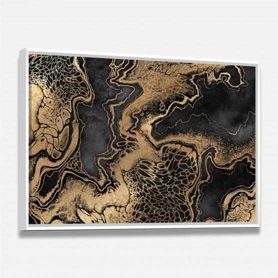 Quadro Abstrato em Preto Fluido Marmorizado Ouro