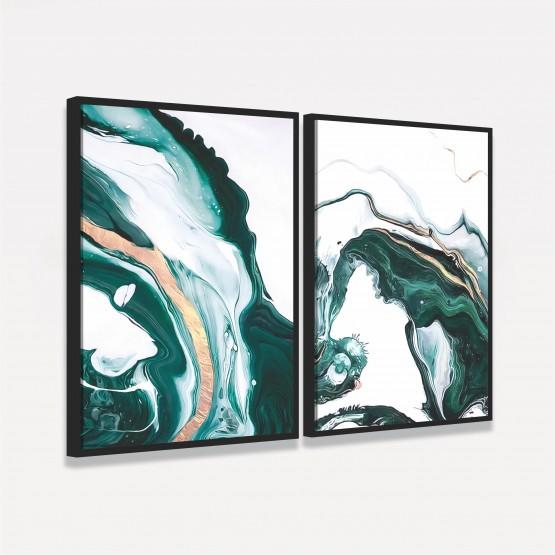 Quadro Abstrato Duo Fluido em Arte Tons de Verde decorativo