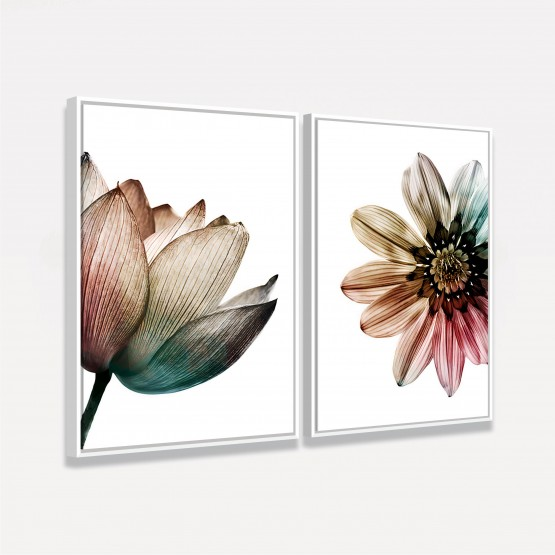 Quadro Flores Floral Artes Coloridas Sobre Branco - Kit 2 Peças