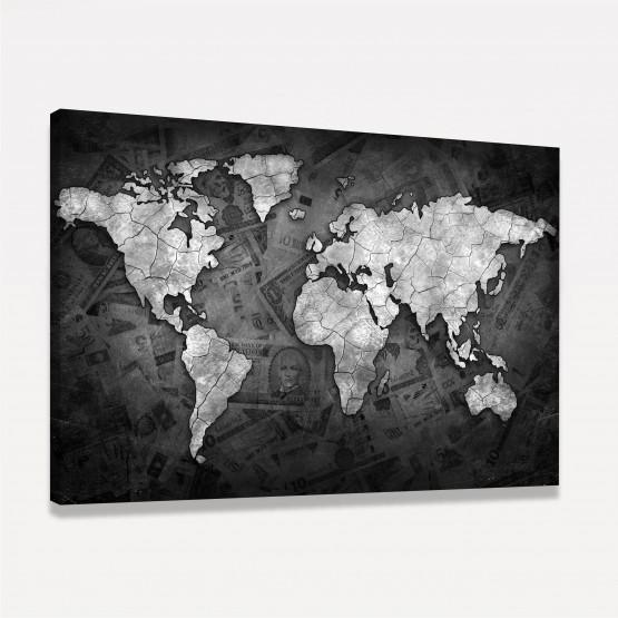 Quadro Mapa Mundi  Sea of Money