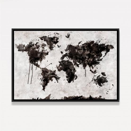 Quadro Mapa Mundi em Arte Animais - Preto e Branco