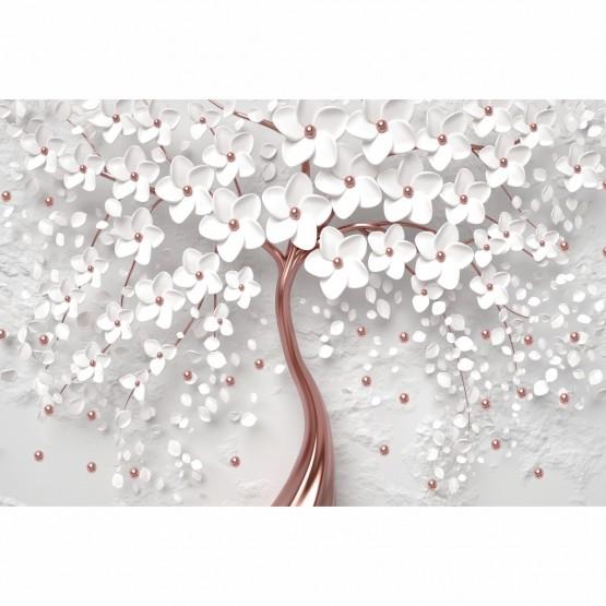 Quadro Decorativo Flores Cerejeira Branca e Rose Gold