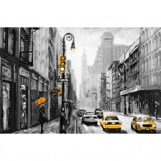 Quadro Paisagem Urbana Artística - Nova York - Detalhes Amarelos