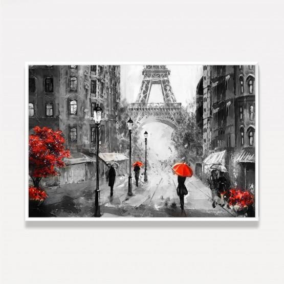 Quadro Paisagem Urbana Artística - Paris - Detalhes Vermelhos