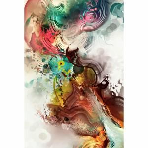 Quadro Abstrato Colorido Moderno Vertical Arte