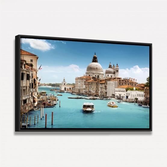 Quadro Paisagem Cidade Canal de Veneza - Lindas Aguas Azuis