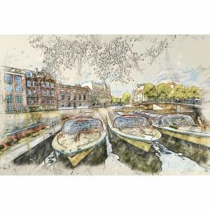 Quadro Veneza Barcos Canal de Viena Paisagem Artística