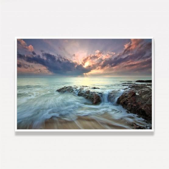 Quadro Paisagem Praia Aguas do Mar Sobre as Pedras