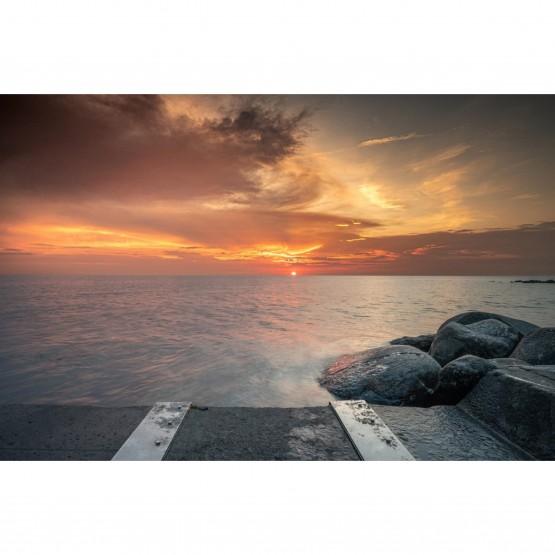 Quadro Paisagem Vista do Sol e Mar no Pear decorativo