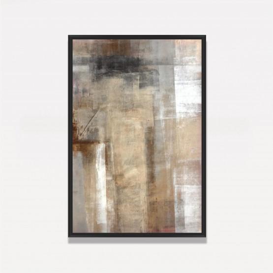 Quadro Abstrato Cores Areia Branco e Preto