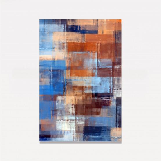 Quadro Abstrato Cores Azul e Terrosos