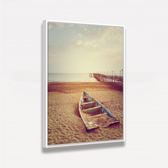 Quadro Paisagem Praia Mar Canoa decorativo