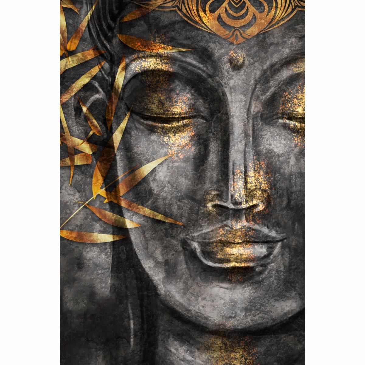 Quadro Decorativo Buda Preto e Dourado
