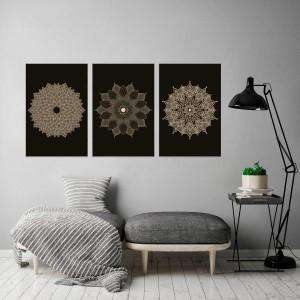 Kit Quadros decorativos Mandalas Abstrato Black