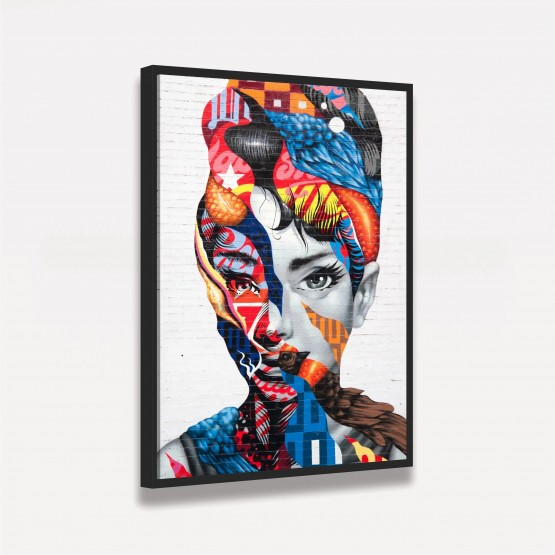 Quadro Audrey Hepburn Street Art decorativo