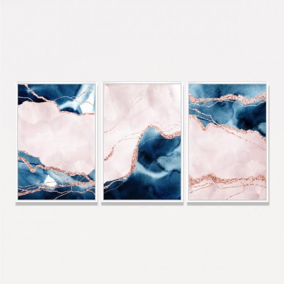 Quadro Abstrato Rosa Luxo Design Mármore