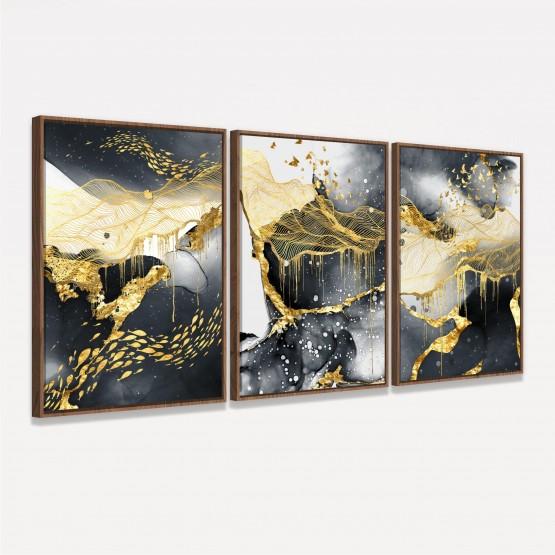 Quadro Abstrato Preto e Dourado Trio Moderno decorativo