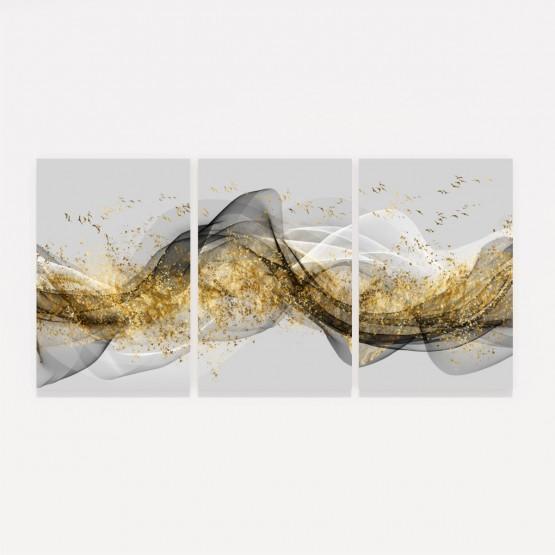 Quadro Abstrato Tons de Cinza e Dourado