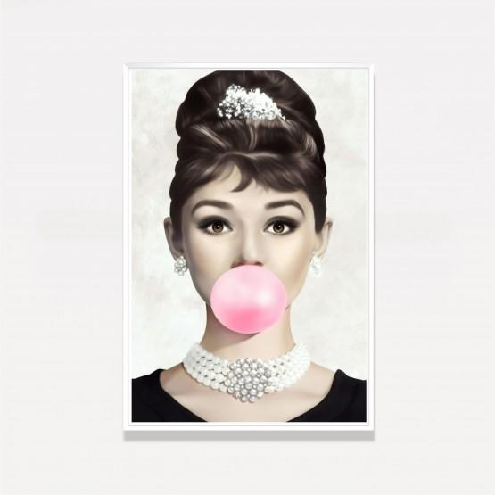 Quadro decorativo Audrey Hepburn Chiclete Rosa Art
