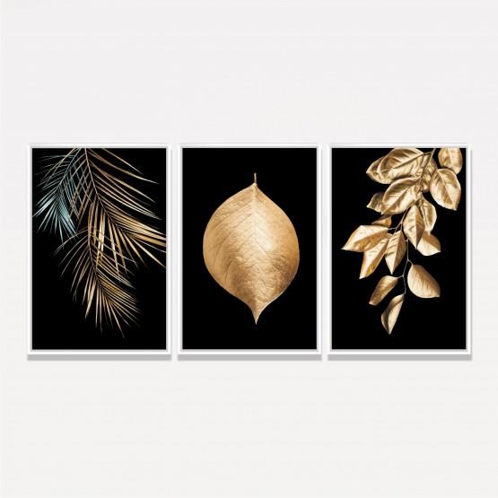 Kit Quadros Folhas Douradas Moderno - Golden Leaves On Black