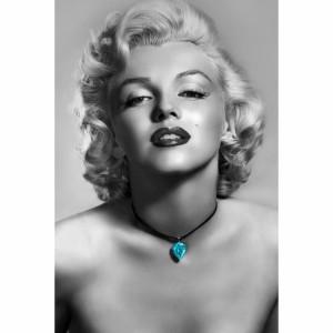 Quadro Marilyn Monroe em Preto e Branco Joia Azul