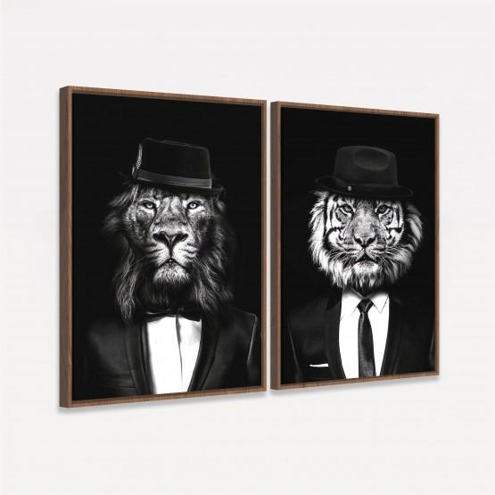 Quadro Leão e Tigre Duo com Smoking Preto Branco