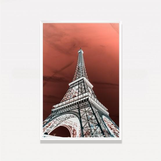 Quadro Art Digital Torre Eiffel Céu Vermelho