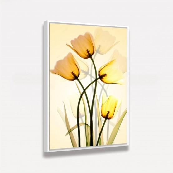 Quadro Flores Três Tulipas Amarelas Artístico