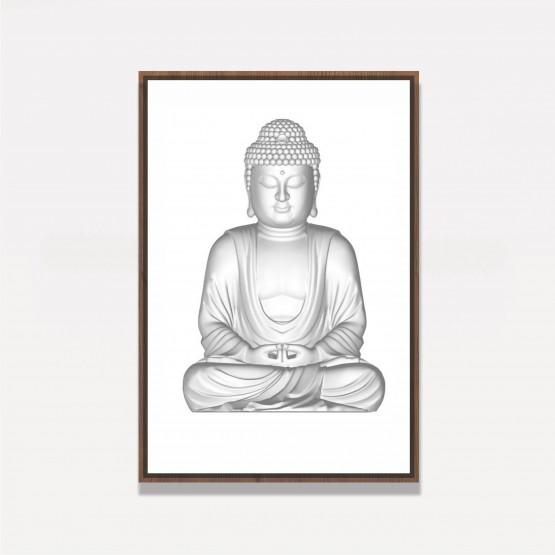 Quadro Decorativo Estatua Buda em Cinza