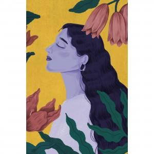 Quadro Mulher Artística com Flores Coloridas Vintage