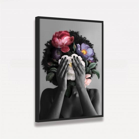 Quadro Mulher Negra Floral Artístico