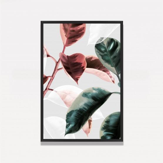Quadro Decorativo Folhas Tropical Verde e Vermelha