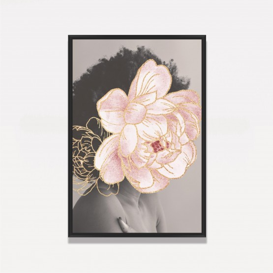 Quadro Mulher com Flor em Rosa Artístico