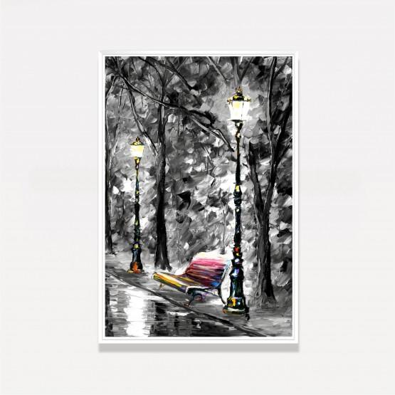 Quadro Abstrato Banco da Praça Artístico Moderno - Park At Night