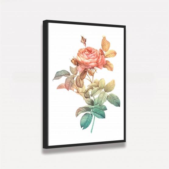 Quadro Flor Rosa Arte Vintage decorativo