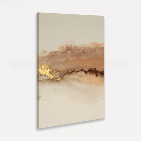 Quadro Abstrato Poeira Elegante Tons de Marrom e Bege Detalhe Dourado