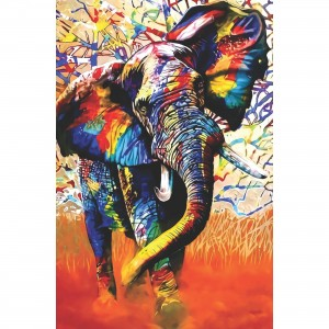 Quadro Decorativo Elefante Artístico Colorido