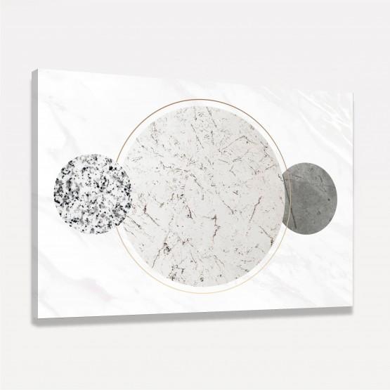 Quadro Abstrato Circulos Marmorizados Tons de Cinza